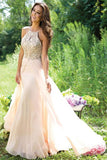 Elegant Princess Long Chiffon Beaded Backless Pink Prom Dresses Z0133 - Bohogown