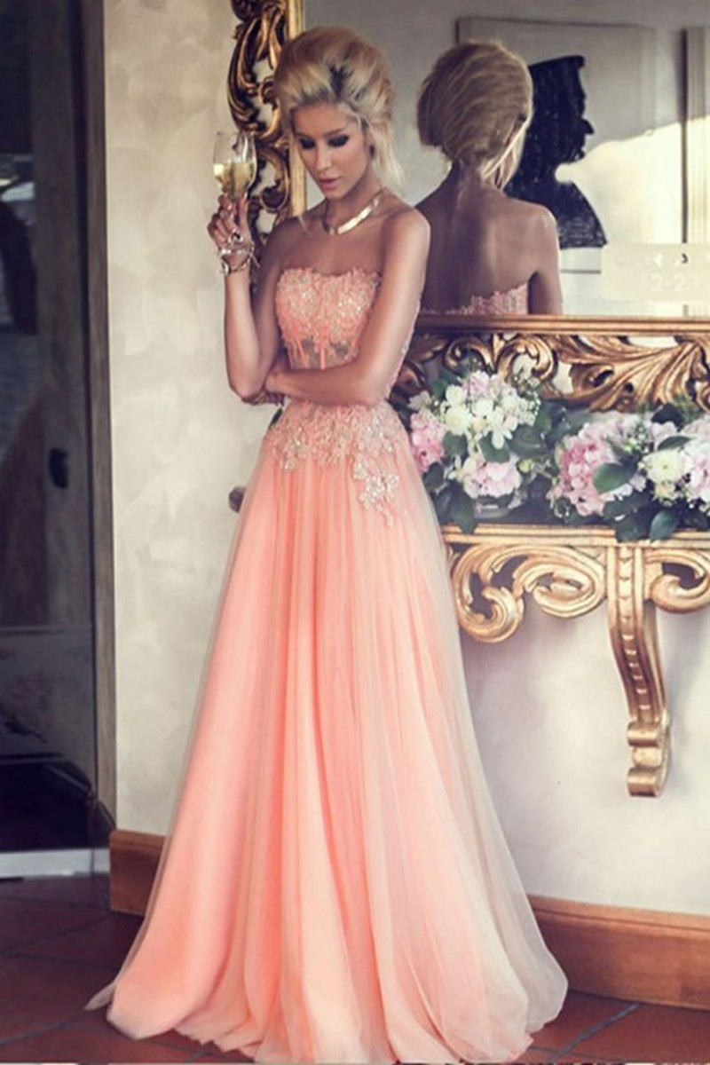 Strapless Lace Tulle Beaded Pink A-line Modest Simple Cheap Prom Dresses Z0134