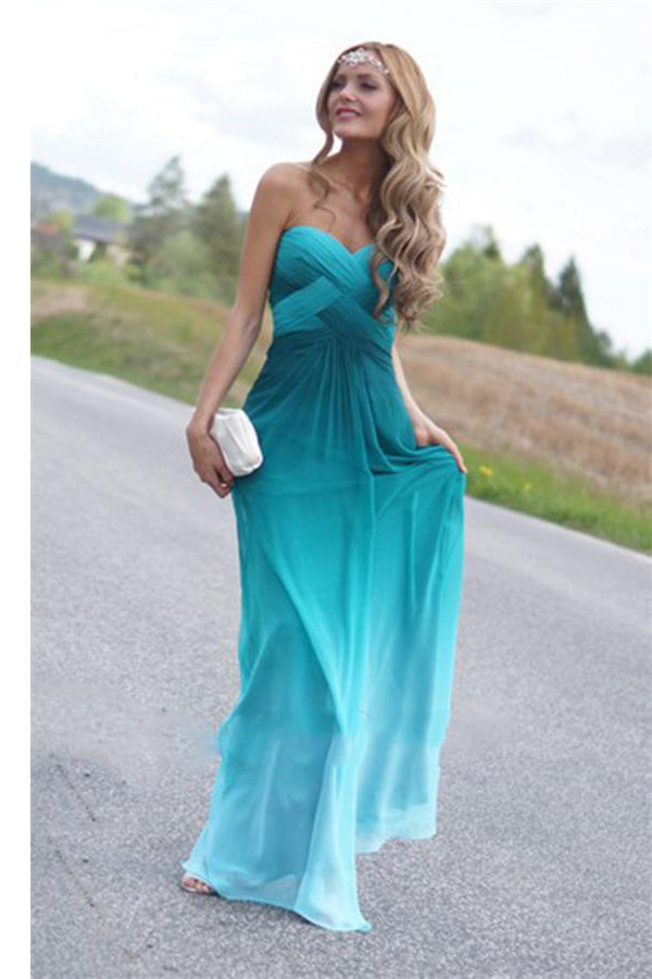 Ombre Chiffon Sweetheart Long Beaded Open Back A-line Prom Dresses Z0136