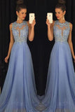 Elegant Lavender A-line Lace Beaded Chiffon Open Back Prom Dresses Z0138 - Bohogown