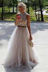 Modest High Neck Open Back Beaded Two Pieces Beaded Tulle A-line Prom Dresses Z0139