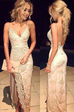 Pretty Spaghetti Straps Long Front Split Lace Beaded Backless Prom Dresses Z0142