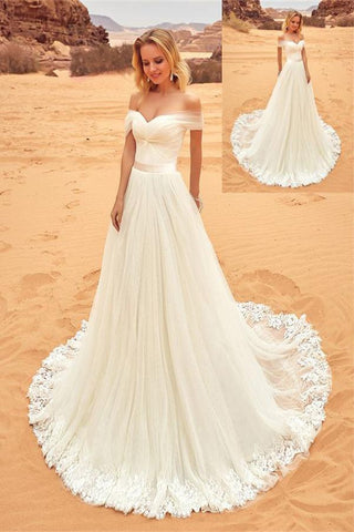 Formal Off The Shoulder Long Lace Tulle A-line Elegant Ivory Wedding Dresses Z0154 - Bohogown