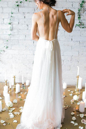 Flowy Long Ivory Chiffon Spaghetti Straps Elegant Backless Wedding Dresses,Beach Wedding Dresses Z0155