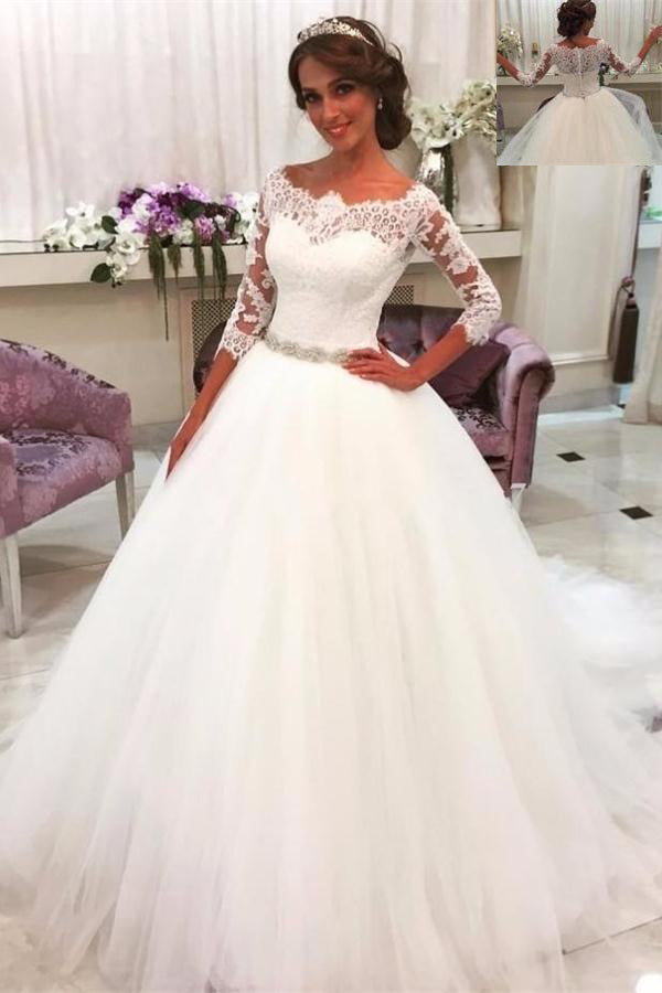 Long Ball Gown Ivory Lace Beaded Tulle Wedding Dresses With Sleeves Z0157