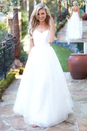 Spaghetti Strapless Long Backless Tulle A-line Simple Cheap Wedding Dresses Z0160