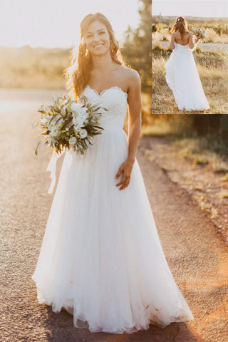Ivory A-line Lace Tulle Sweetheart Zipper Back Long Wedding Dresses Z0161 - Bohogown
