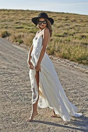 White Spaghetti Straps Long Chiffon Backless Lace A-line Beach Wedding Dresses Z0164