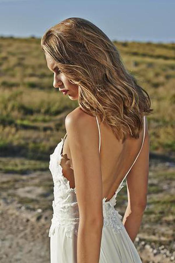 White Spaghetti Straps Long Chiffon Backless Lace A-line Beach Wedding Dresses Z0164 - Bohogown