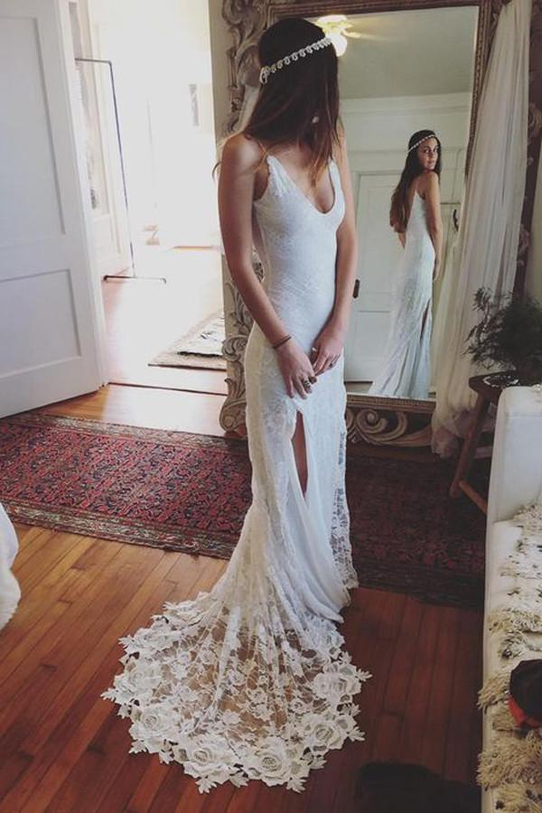 Spaghetti Straps V-neck Long Mermaid Lace White Wedding Dresses Z0165