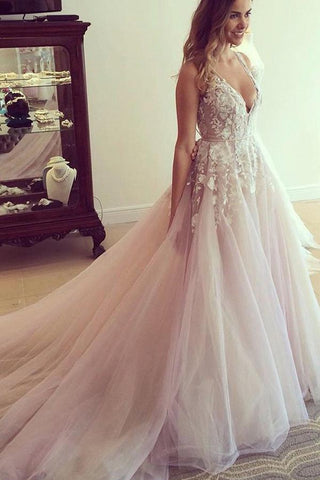 Charming Modest Princess Long Lace Open Back Deep V-neck Wedding Dresses Z0166 - Bohogown