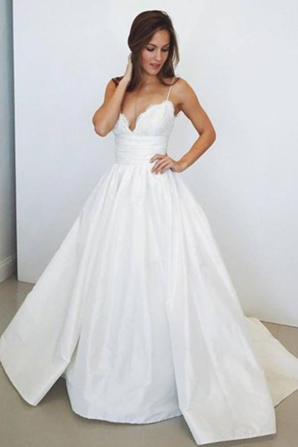 Elegant White Spaghetti Straps Long A-line Lace Satin Wedding Dresses Z0168 - Bohogown