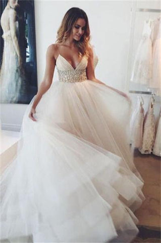 Charming Long Ivory Beaded Tulle A-line V-neck Elegant Wedding Dresses Z0169 - Bohogown