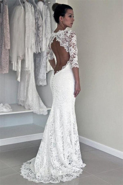 Affordable Mermaid Backless White Lace Long Simple Wedding Dresses With Sleeves Z0171