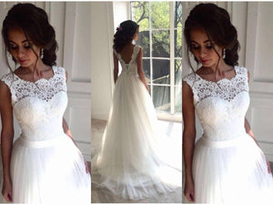 Real Beautiful Lace Tulle White A-line Wedding Dresses,Wedding Gowns Z0172