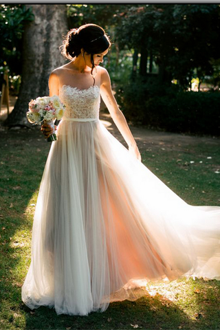 Simple Elegant Lace Tulle Long A-line Beach Wedding Dresses Z0173 - Bohogown