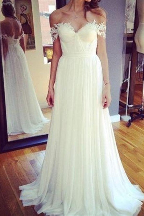 Ivory Flowy Off The Shoulder Long Lace Chiffon A-line Wedding Dresses Z0174 - Bohogown