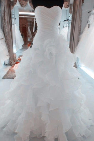 Elegant Princess Lace Up Sweetheart White Long A-line Wedding Dresses Z0177