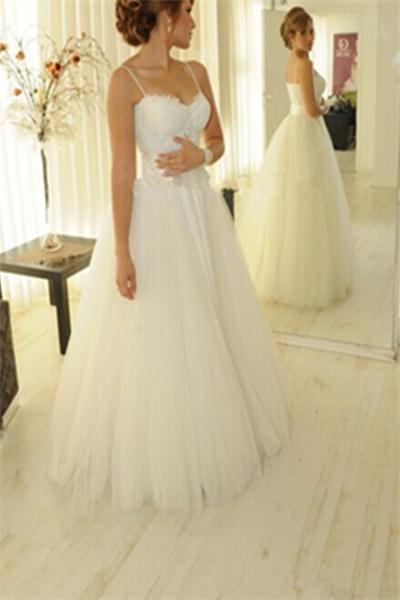 Ivory Lace Up Spaghetti Straps Long A-line Lace Tulle Wedding Dresses Z0178