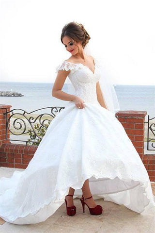 White Ball Gown V-neck Long A-line Lace Long Wedding Dresses,Princess Dresses Z0179 - Bohogown