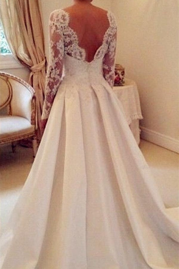 Ivory Long Sleeves Lace Satin Open Back A-line Modest Wedding Dresses Z0180