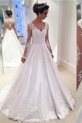 Modest White Long V-neck Lace Satin Beaded A-line Long Sleeves Wedding Dresses Z0181 - Bohogown