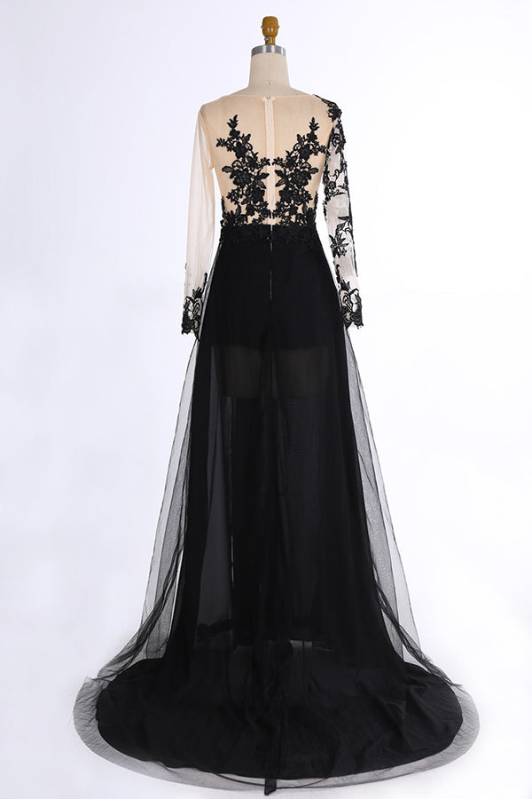 Long Sleeves Front Split Lace Chiffon Tulle Long Black Prom Dresses For Teens Z0182 - Bohogown