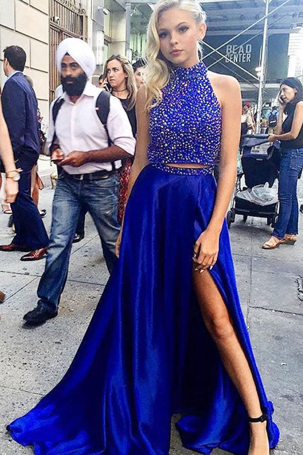 Sparkly High Neck Two Pieces Royal Blue Beaded Long Prom Dresses Z0185
