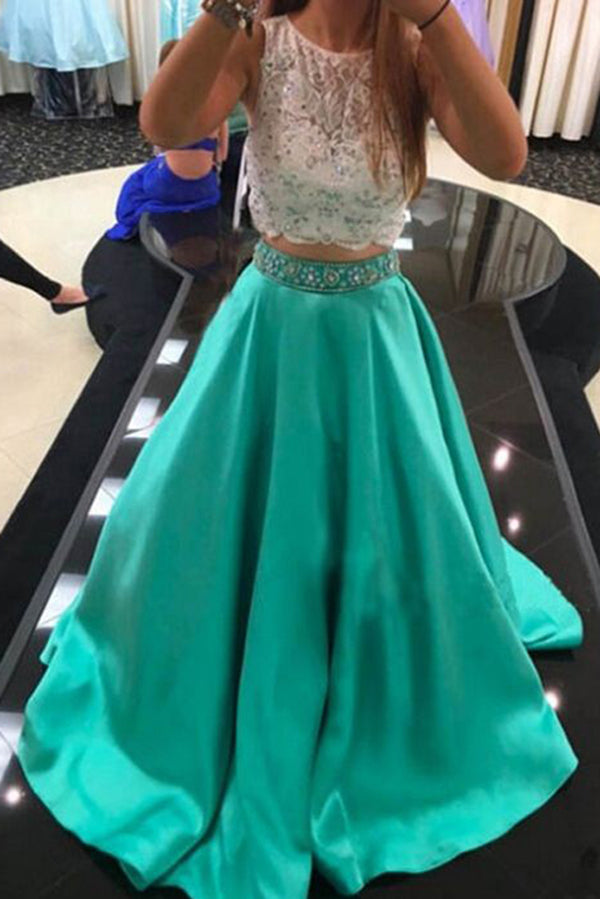 Beauty Two Pieces Beaded Long A-line Satin Green Prom Dresses For Teens Z0187 - Bohogown