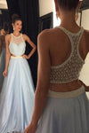 Elegant Sleeveless Long Sky Blue Beading A-line Prom Dresses,Prom Gowns Z0188