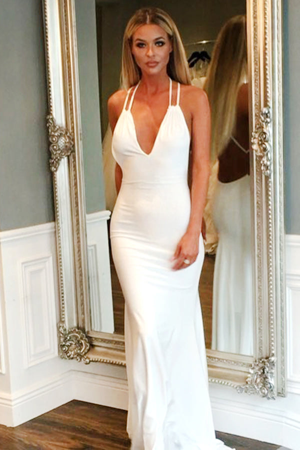 Mermaid White Simple Cheap Long Backless Prom Dresses,Women Dresses Z0191 - Bohogown