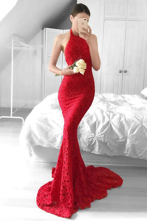 Modest Halter Open Back Long Mermaid Red Lace Prom Dresses For Teens Z0193