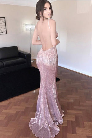 Sexy Open Back Sparkly Long Mermaid V-neck Long Girly Prom Dresses Z0195