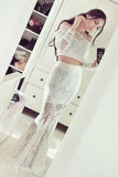 Elegant White Two Pieces Mermaid Long Sleeves Lace Prom Dresses For Girls Z0196 - Bohogown