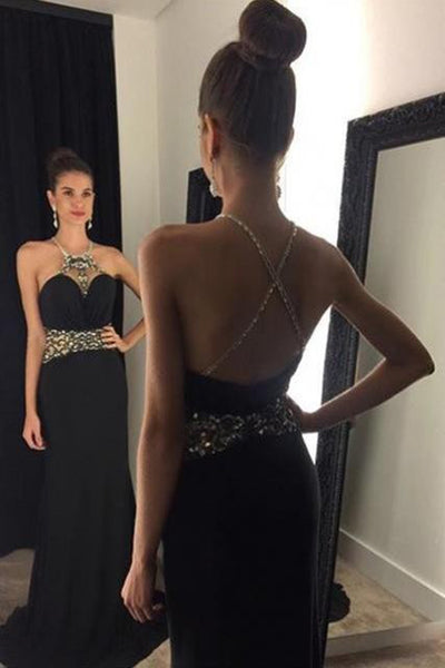 Black Sleeveless Long Mermaid Black Beaded Long Sexy Prom Dresses Z0201