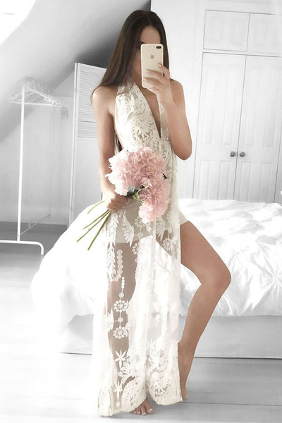 Ivory Open Back Front Split Long A-line Lace Prom Dresses,Party Dresses Z0202
