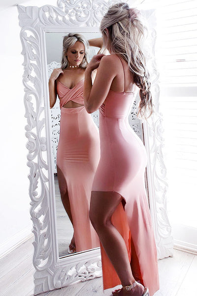 Simple Style Long Pink Spaghetti Straps Open Back Prom Dresses Z0209