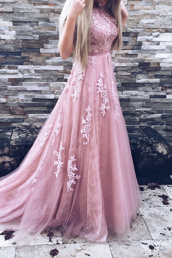 Princess A-line Pink Lace Tulle Long Elegant Prom Dresses For Teens Z0210