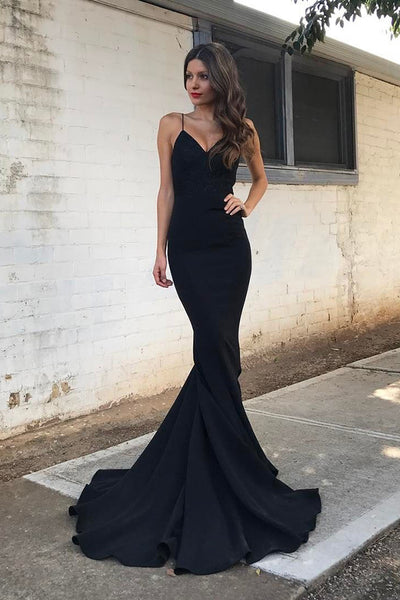 Modest Spaghetti Straps Black Long Mermaid Simple Cheap Prom Dresses Z0212