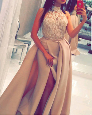 Princess Prom Dresses,High Neck Long A-line Lace Prom Dresses Z0214