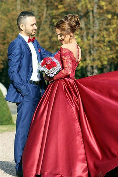 Red Long Sleeves Lace Satin Ball Gowns Prom Dresses,Princess Dresses ...