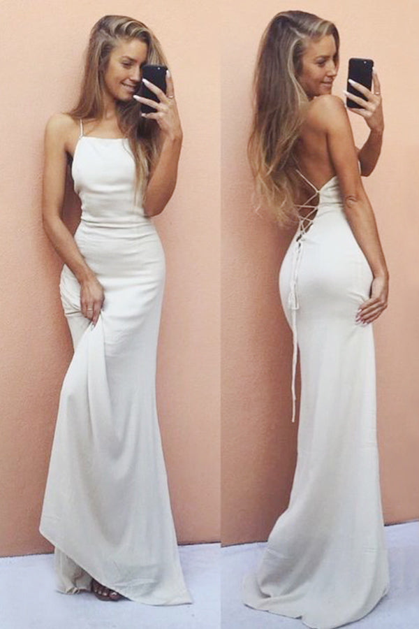 White Mermaid Spaghetti Straps Long Simple Cheap Prom Dresses Z0216 - Bohogown