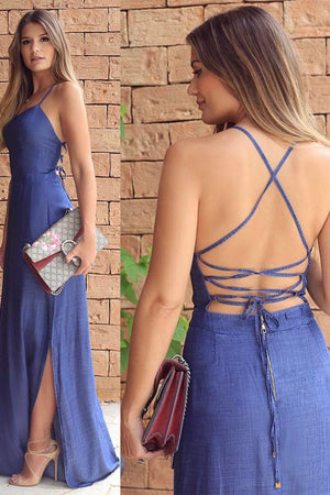 Flowy Blue Long Backless A-line Spaghetti Straps Elegant Prom Dresses Z0219