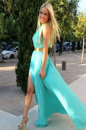 Flowy Long Chiffon Elegant Simple Cheap Prom Dresses For Teens Z0223