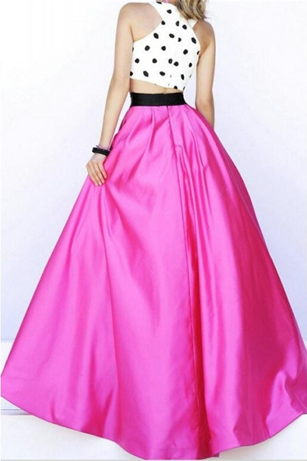 Two Pieces Hot Pink Long A-line Princess Prom Dresses For Teens Z0224 - Bohogown