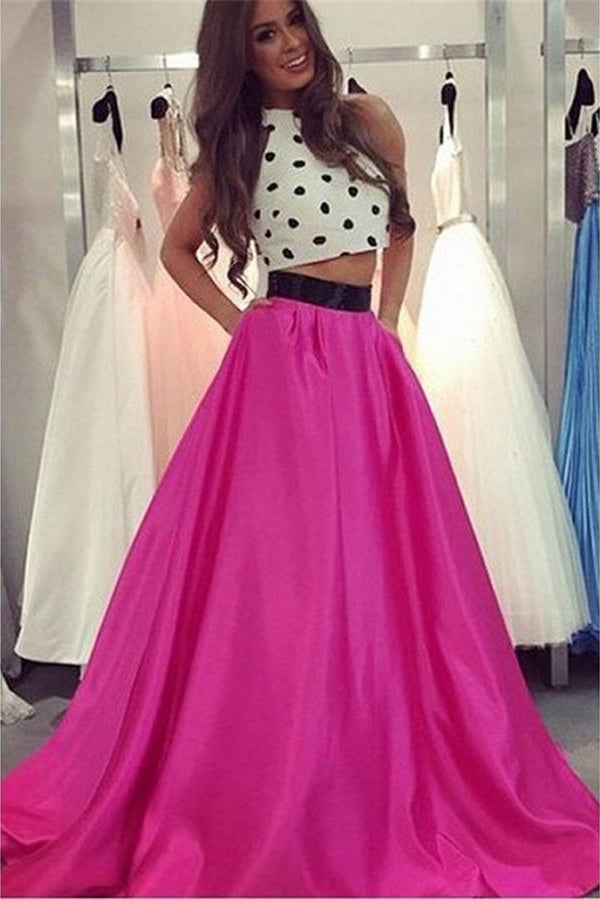 Two Pieces Hot Pink Long A-line Princess Prom Dresses For Teens Z0224