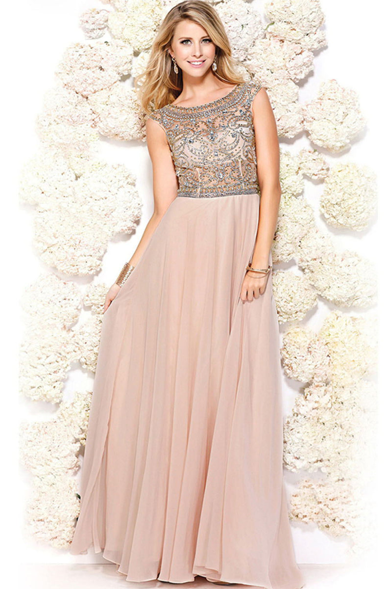 Sparkly Long Beading Chiffon Zipper Back Elegant A-line Pink Prom Dresses Z0225