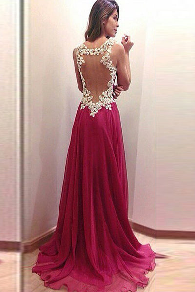 Burgundy Chiffon Long A-line Elegant Simple Cheap Lace Prom Dresses Z0226