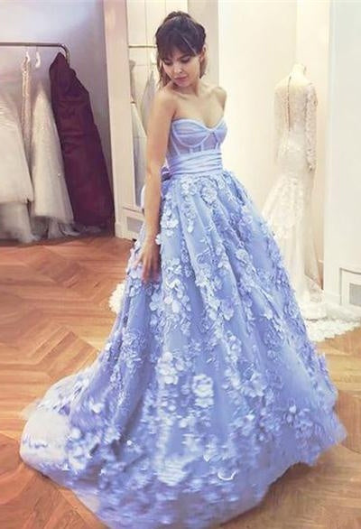 53b3eb82914 Beautiful Sweetheart Long Ball Gown Blue Applique Quinceanera ...