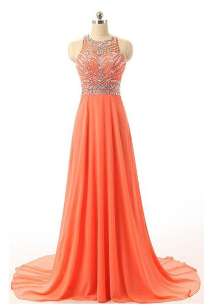 Orange Long Chiffon Beaded A-line Prom Dresses For Teens,Party Dresses Z0283